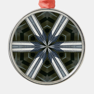 abstract kaleidoscope Silver-Colored round ornament