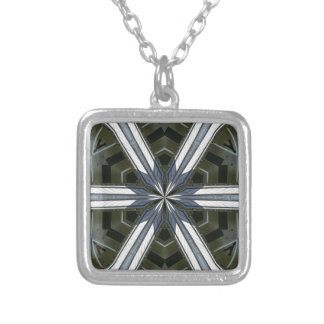abstract kaleidoscope silver plated necklace