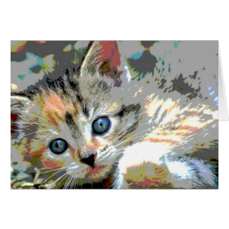 Abstract Kitten Note Card