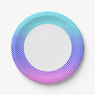 Abstract L Blue Pink n Purple 7 Inch Paper Plate