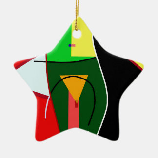 Abstract lady ceramic star ornament