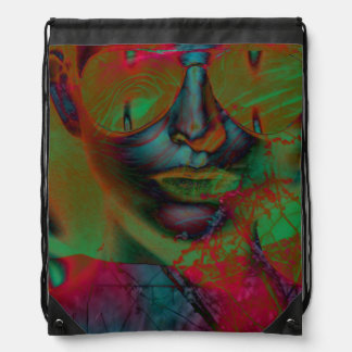 Abstract Lady Drawstring Backpack