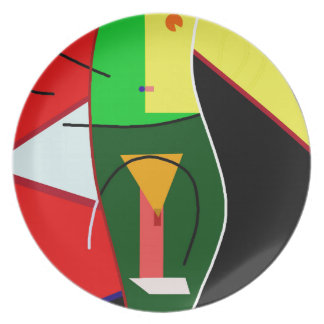 Abstract lady party plate