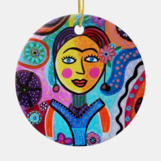 ABSTRACT LADY   ROUND CERAMIC ORNAMENT