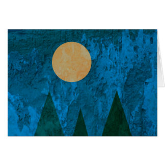 Abstract Landscape Art Mountains Moon Sky Card
