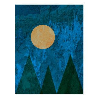 Abstract Landscape Art Mountains Moon Sky Postcard