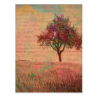 Abstract Landscape Art Pastels Tree Meadow Words Postcard
