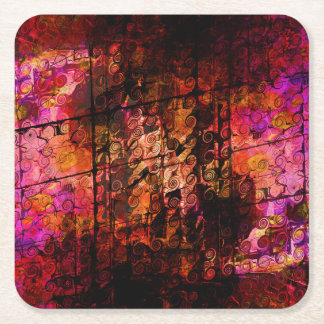 Abstract Landscape Art Swirls Lines Purple Red Square Paper Coaster