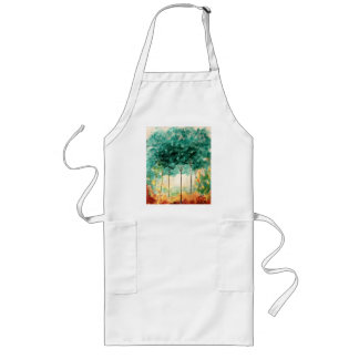 Abstract Landscape Art Trees Forest Painting Long Apron