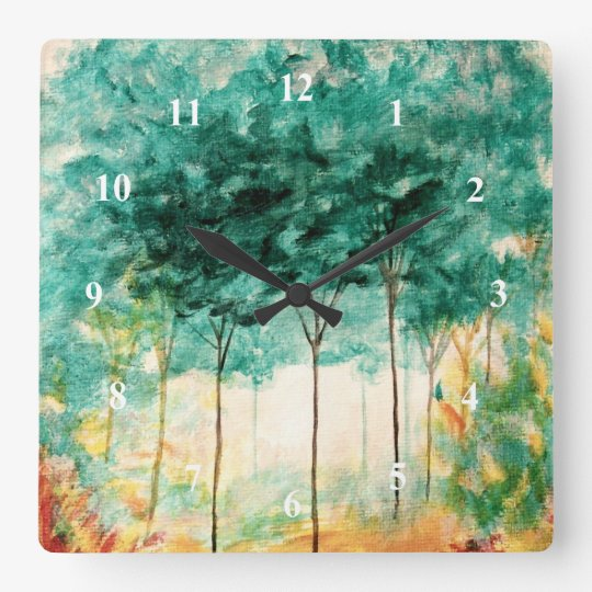 Abstract Landscape Art Trees Forest Painting Wall Clocks