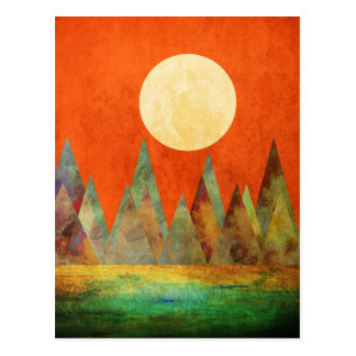 Abstract Landscape Big Moon, Mountains, Orange Sky Postcard