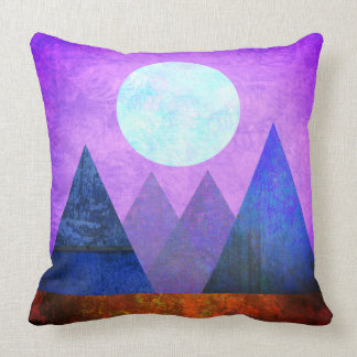 Abstract Landscape Full Moon Mountains Purple Sky Throw Pillow