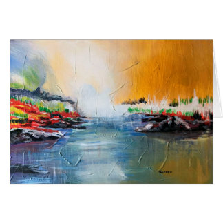 Abstract landscape painting on postcard