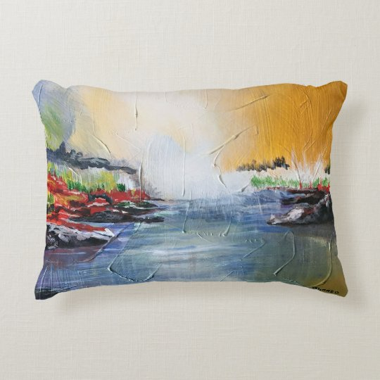 Abstract landscape painting on throw pillow