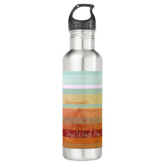 Abstract Landscape Stripes & Your Words 710 Ml Water Bottle