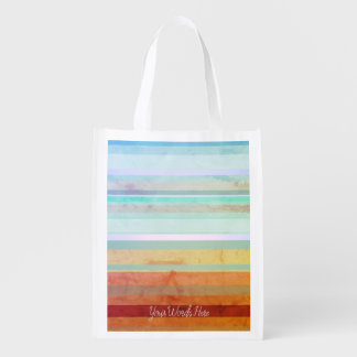 Abstract Landscape Stripes & Your Words Reusable Grocery Bag