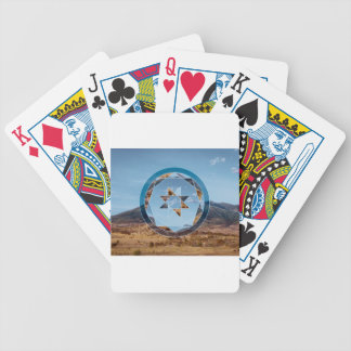 Abstract landscape with geometrical shapes bicycle playing cards