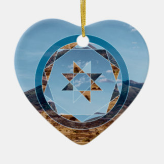 Abstract landscape with geometrical shapes ceramic heart ornament