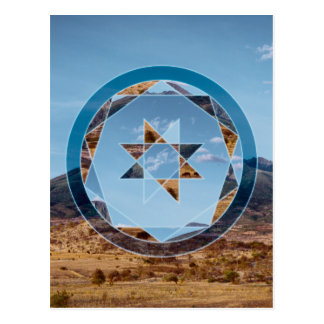 Abstract landscape with geometrical shapes postcard
