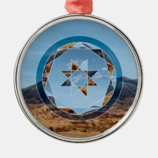 Abstract landscape with geometrical shapes Silver-Colored round ornament
