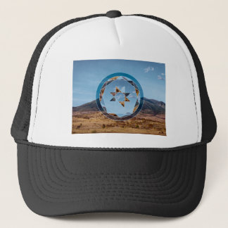 Abstract landscape with geometrical shapes trucker hat