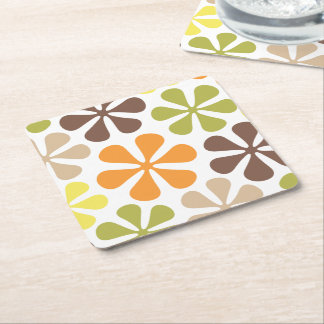 Abstract Large Flowers Retro Colors Square Paper Coaster
