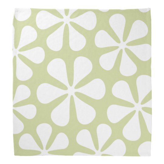 Abstract Large Flowers White on Lime Bandanna