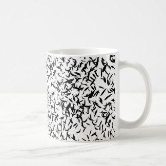 Abstract leaf black and white mug