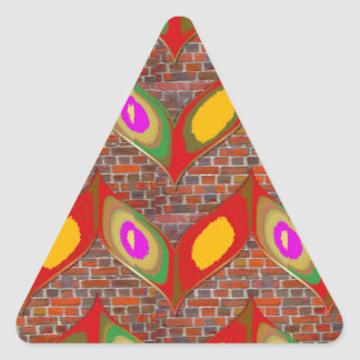 Abstract leaf design on brick wall goodluck gifts triangle sticker