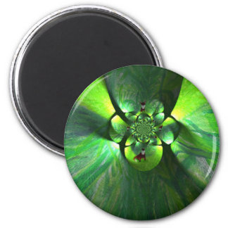 Abstract Leaf Fox Pattern 2 Inch Round Magnet