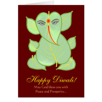 Abstract Leaf Motif Ganesha Happy Diwali Greeting Card