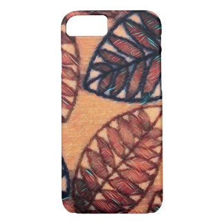 Abstract Leaf Pattern iPhone Case In Earth Colours