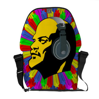 Abstract Lenin Head in Star Circle Commuter Bag