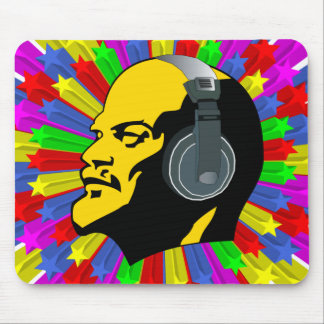 Abstract Lenin Head in Star Circle Mouse Pad