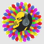 Abstract Lenin Head in Star Circle Round Sticker