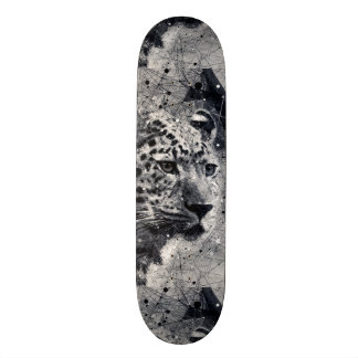 Abstract Leopard Wild Animal Black and White Custom Skateboard