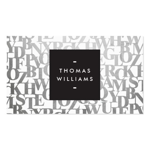Abstract Letterforms for Authors and Writers Business Cards