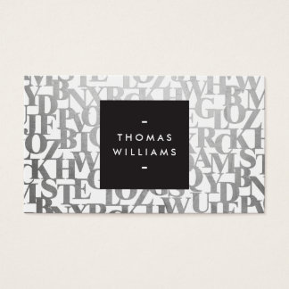 Abstract Letterforms for Authors and Writers Business Card