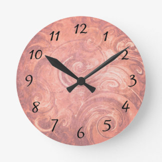 Abstract Light Pink Swirls Wall Clock with Numbers