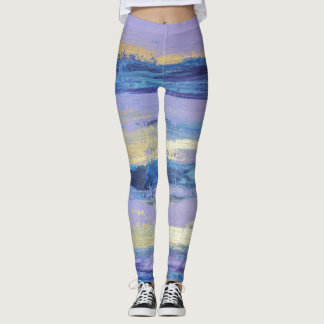 Abstract Lilac and Gold Art Leggings