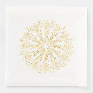 Abstract Lily Gold White Mandala Disposable Napkins