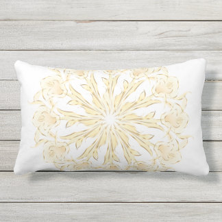 Abstract Lily Mandala Gold White Outdoor Pillow