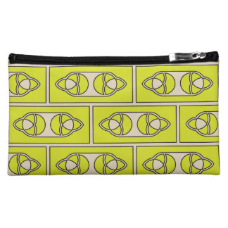 Abstract lime green pattern cosmetic bag