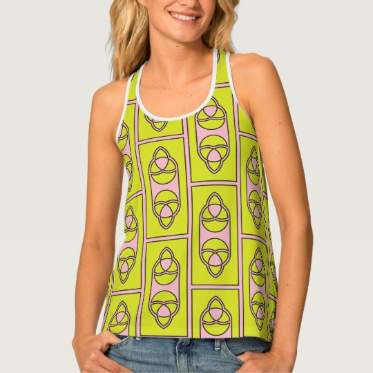 Abstract lime green pink pattern tank top