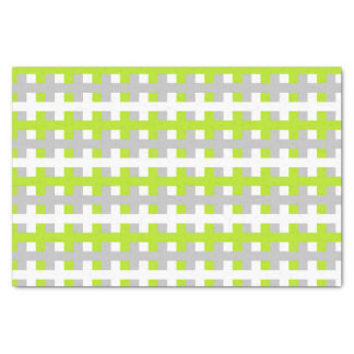 Abstract Lime Green, Silver and White Tissue Paper