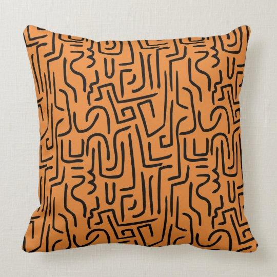 Abstract Lines 130318 - Black on #EA8430 | orange Throw Pillow