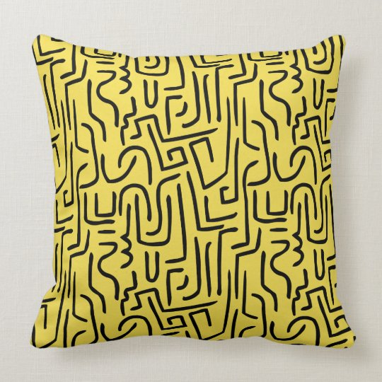Abstract Lines 130318 - Black on #F5DD4B   yellow Throw Pillow