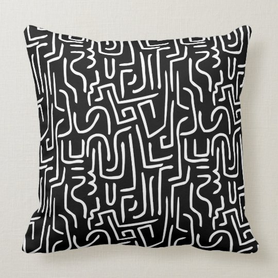Abstract Lines 130318 - White on Black Throw Pillow