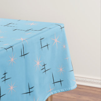 Abstract lines and Pink Stars Baby Blue Retro Tablecloth