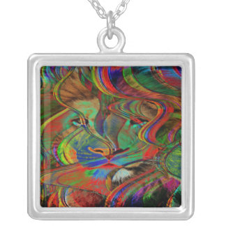 Abstract Lion Silver Plated Necklace